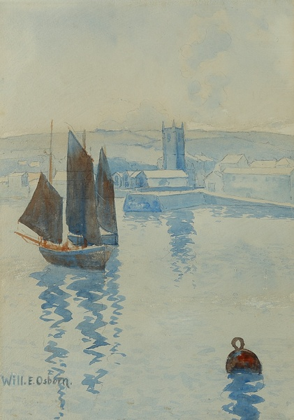 WILLIAM E OSBORN, TWO FISHING BOATS AT ST IVES, 1890s